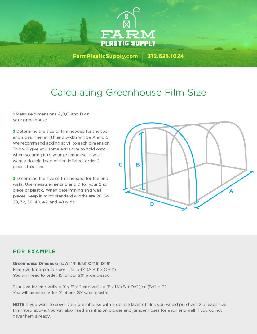 Greenhouse Film sizing graphic.
